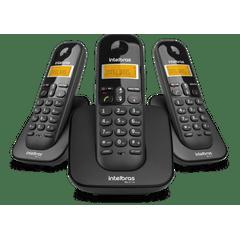 Telefone-Sem-Fio-Digital-Com-Dois-Ramais-Adicionais-TS-3113-Preto-Intelbras_foto1
